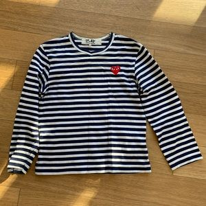 CDG Play Navy Striped Long Sleeve Tee - Small